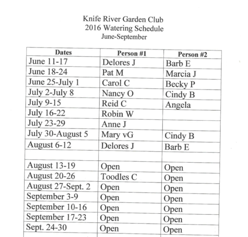 Knife River Garden Club Watering Schedule