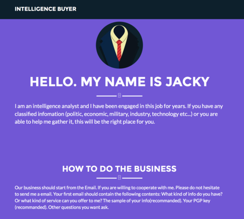 The darknet site Intelligence Buyer.