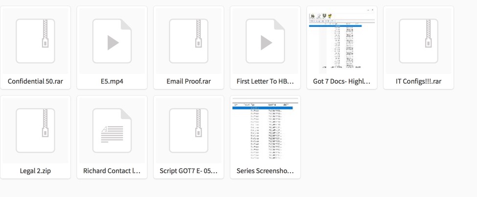 Screen capture of the files included in HBO Hack - 2nd Wave