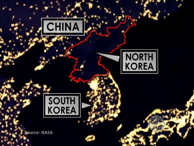 North Korea at night shows Pyongyang as the primary source of electricity, while the rest of the country only receives electricity a few hours a day, if at all.