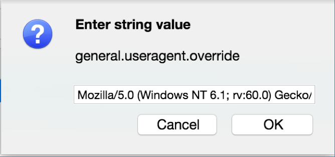 Figure 1 Tor Browser about:config useragent override popup
