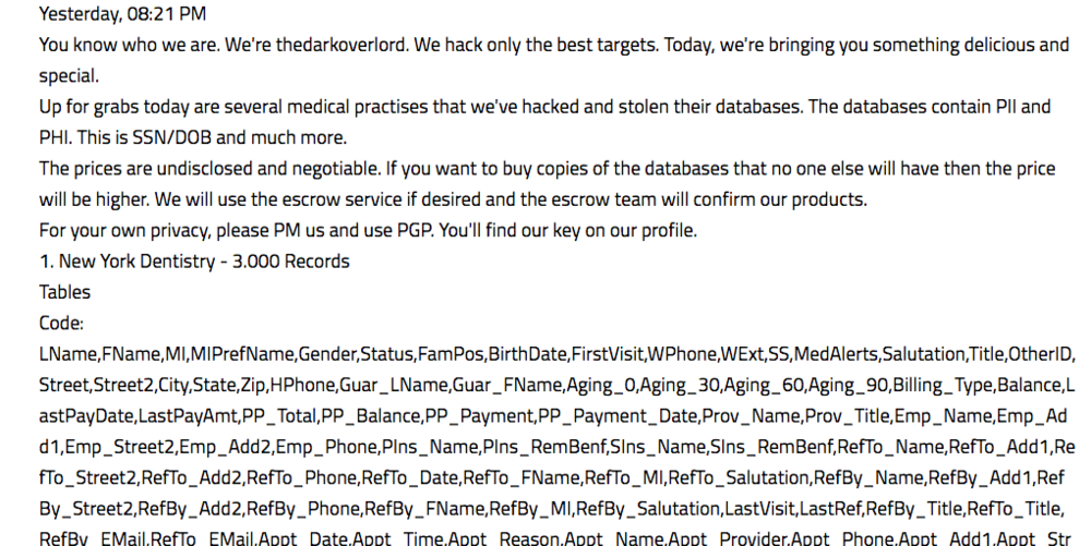 Screenshot of TheDarkOverlord posting about medical records on Kickass Forum (as displayed in DarkOwl Vision)