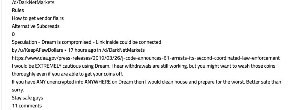 Dread user expressing concern regarding the timing of Dream Market's closure and Operation SaboTor. (Image via DarkOwl Vision)