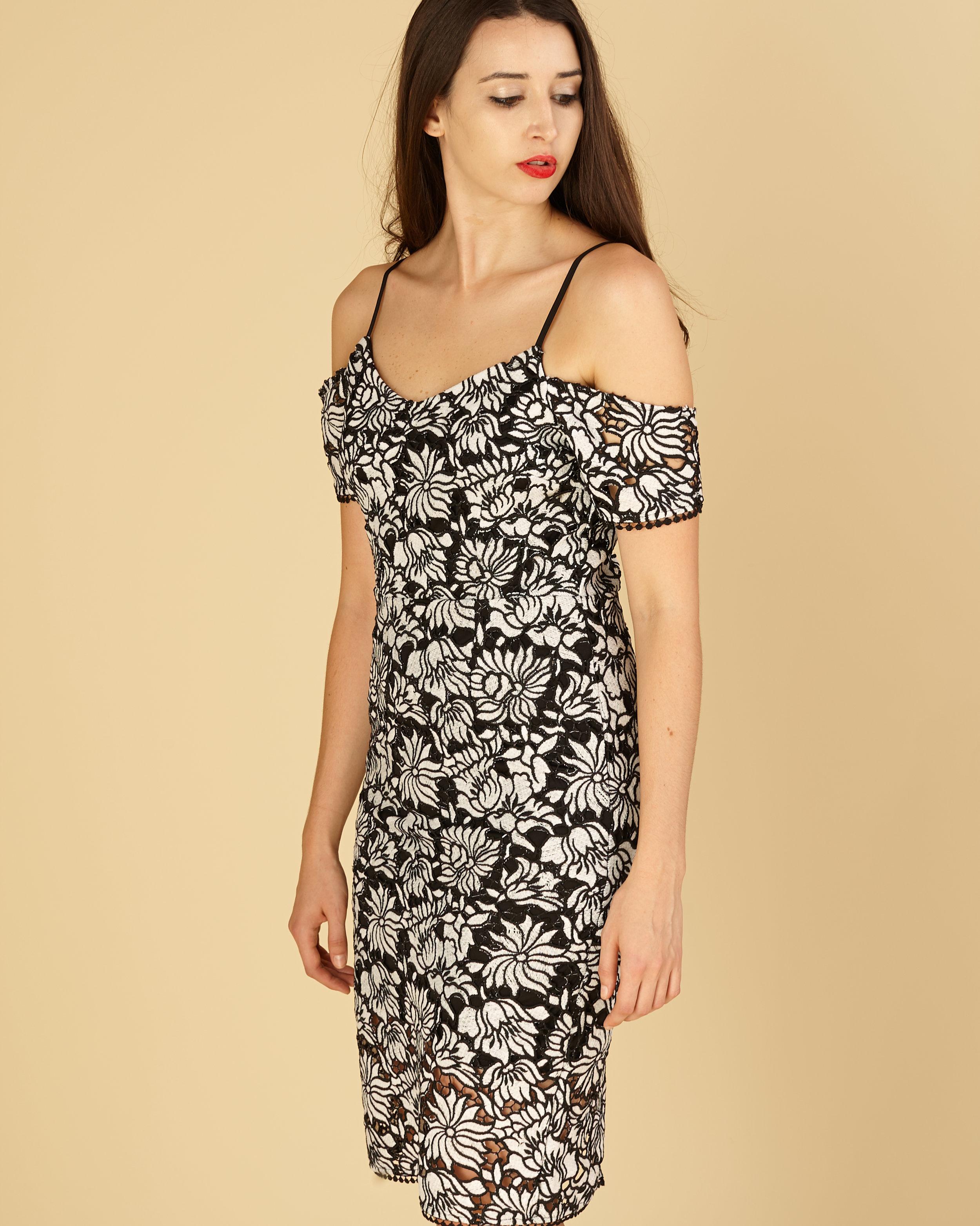 079ad3c866 Black/White Vintage open lace Cold shoulder Dress — KRENEE BOUTIQUE