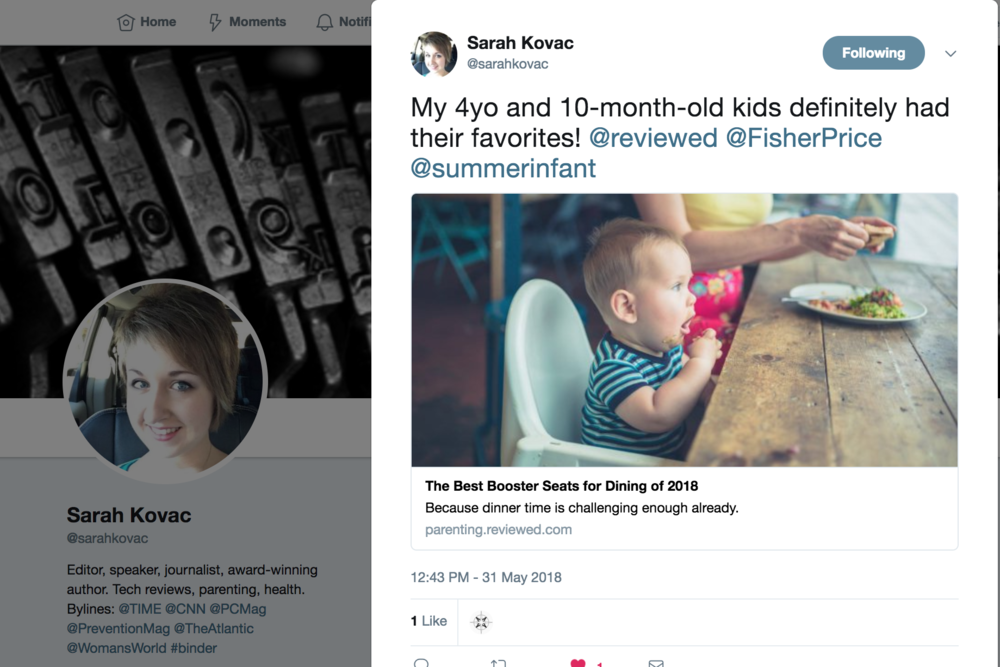 2018.05.31_(USA Today) Reviewed.com Writer Sarah Kovac, Twitter_Summer Infant Pop 'N Sit Portable Booster_cropped 3x2.png