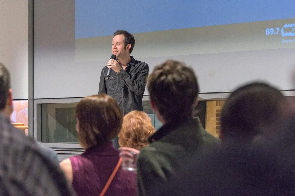 Speaking at (NPR) WGBH BostonTalks, photo by Sheldon Golder