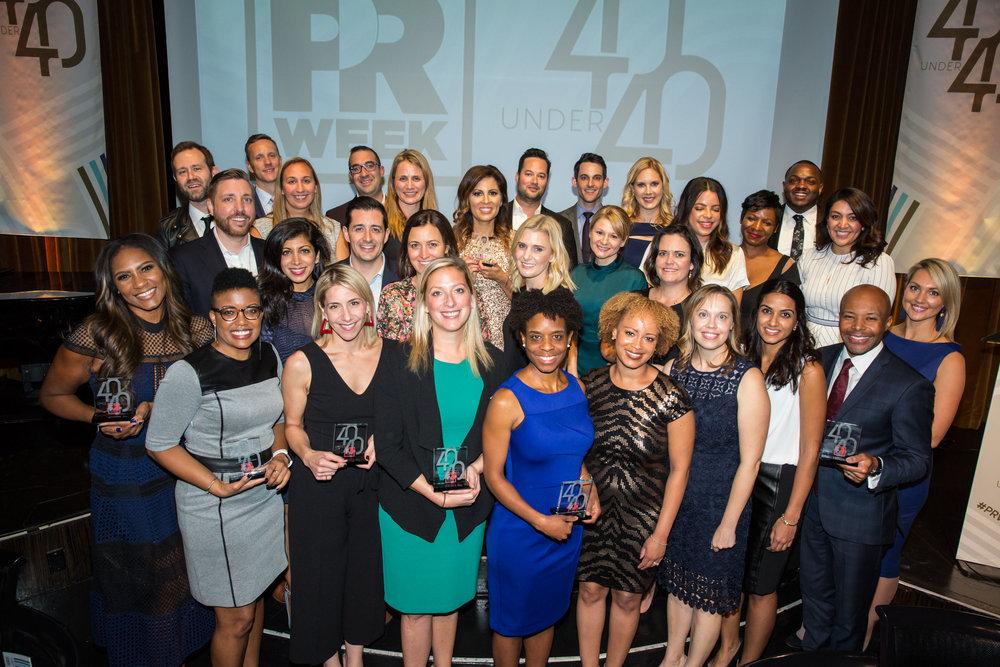 At the PRWeek 40 Under 40 honoree dinner