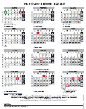 Calendario Laboral Ano 2018 Gestoria Bravo Asesoria
