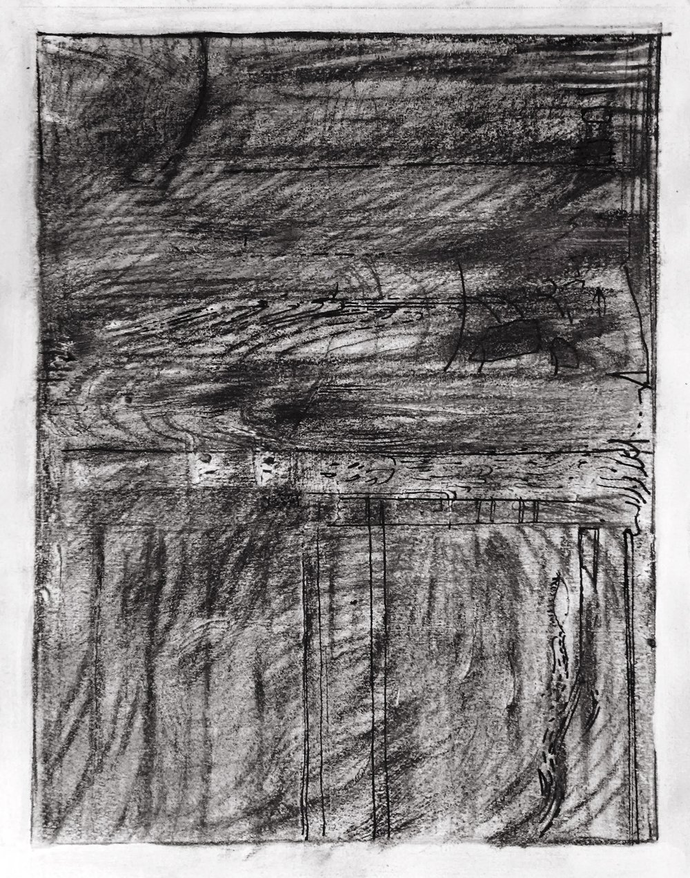 NY Sea #1 - Charcoal on Paper - 16'' x 20''