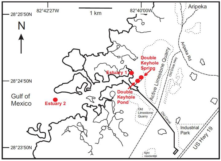 Site Map of the double keyhole Karst estuary