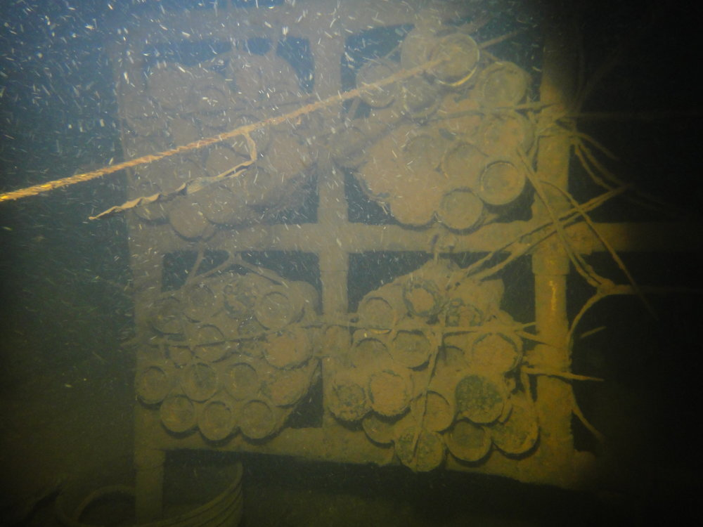 The PVC rack with the tubes containing limestone gravel. There are 15 tubes in each set under three conditions. We collected the lower left hand set this dive. Note the thick biofilm covering all the surfaces.