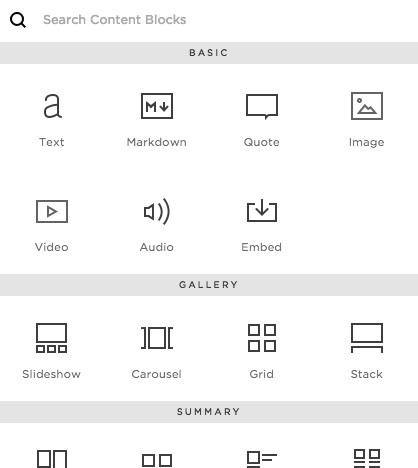 Content blocks die je kunt toevoegen aan je Squarespace-site