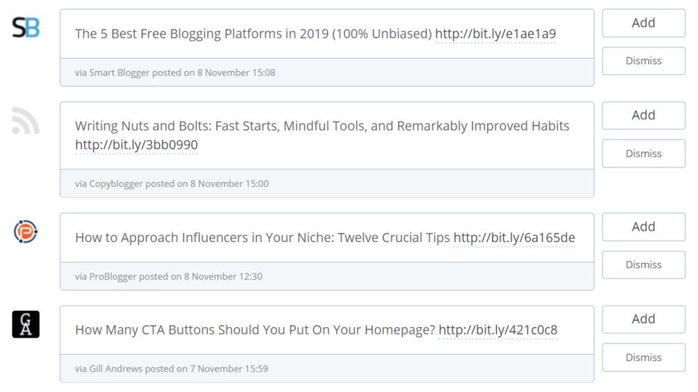 De Content Inbox van Buffer met de laatste artikelen van mijn favoriete sites. Door op 'Add' te klikken, kan ik ze snel en makkelijk aan mijn Buffer queue toevoegen.