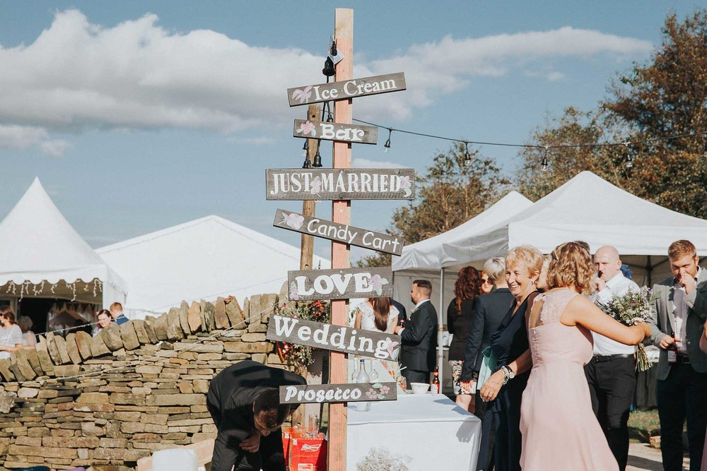 DIY wedding signpost