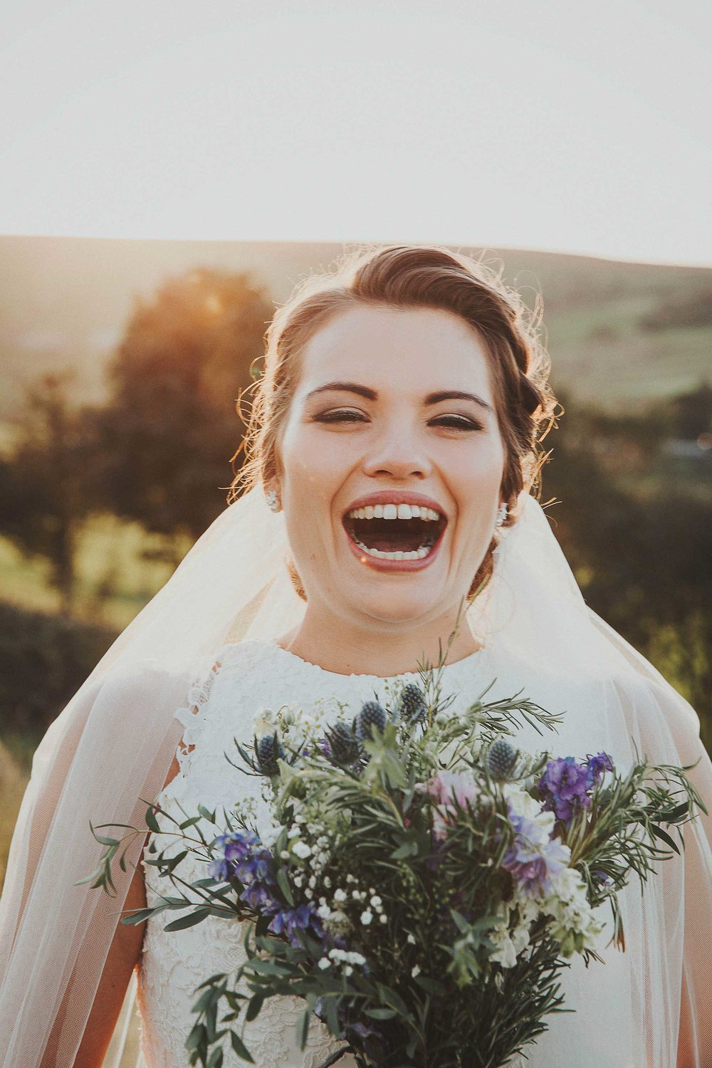 Bride laughing West Yorkshire