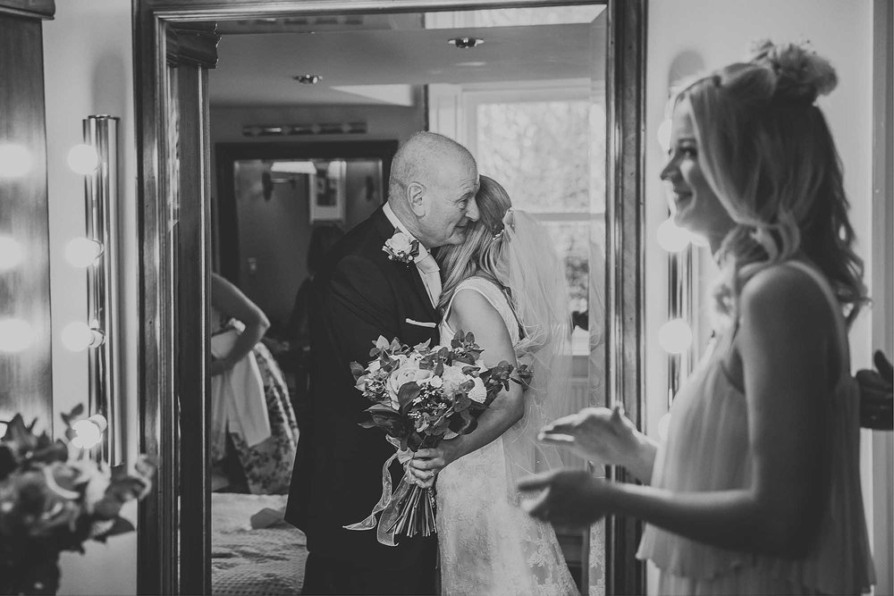 Bride and her Dad at The White Hart Inn Lydgate