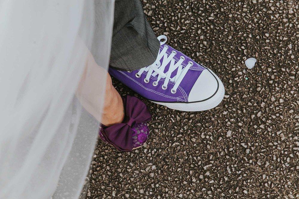 matching purple wedding shoes