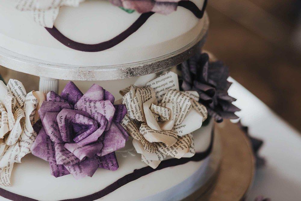 handmade paper flowers on wedding cake