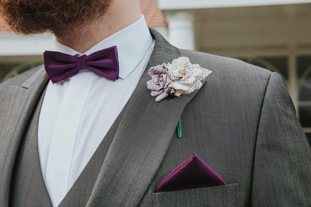 purple groom bowtie
