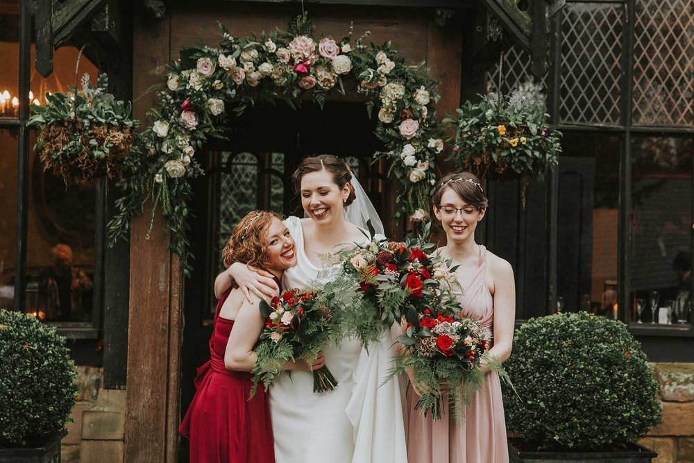 bridesmaids at Samlesbury Hall