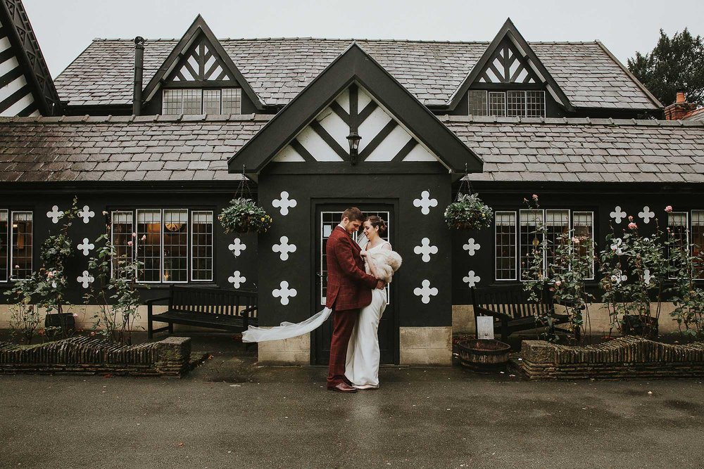 bride and groom at Samlesbury Hall