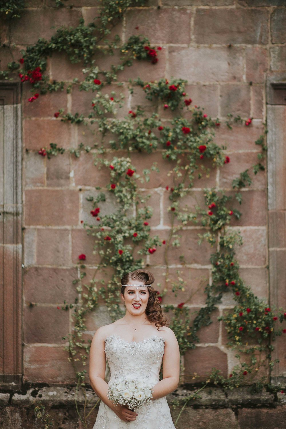 bride outside Browsholme Hall and Tithe Barn