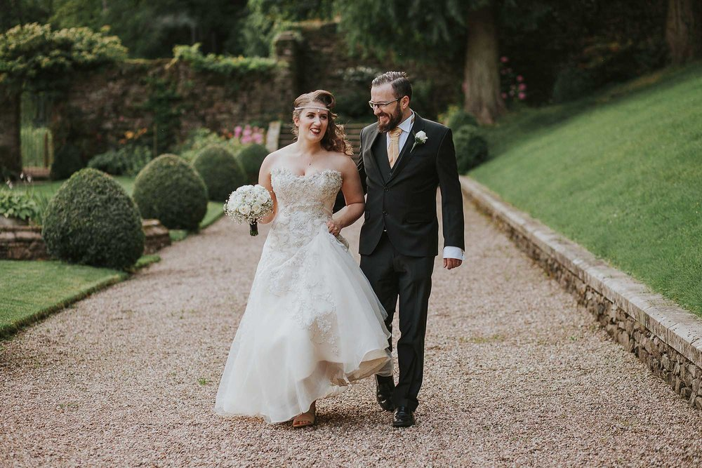 Bride and groom at Browsholme Hall and Tithe Barn