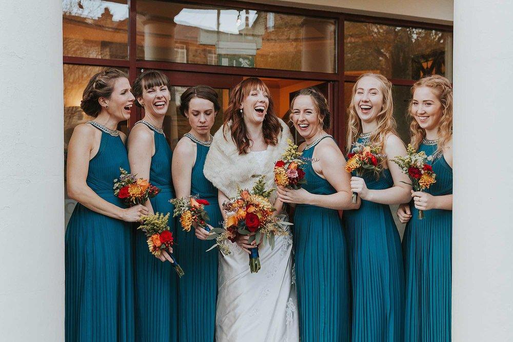 bridesmaids at City Church Sheffield