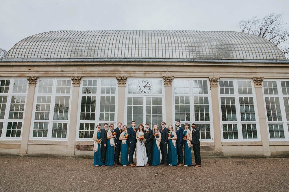 Sheffield botanical gardens wedding party