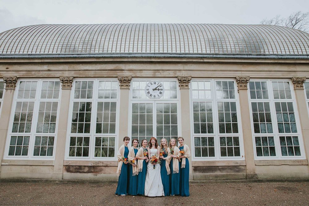 bridesmaids at Sheffield botanical gardens