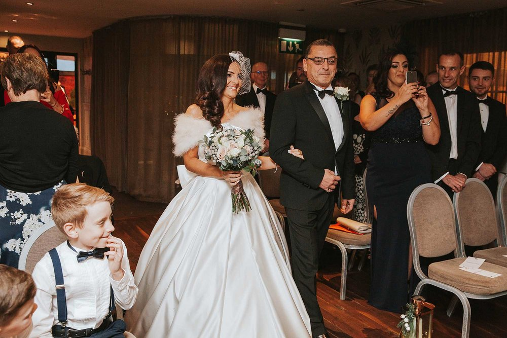 winter wedding ceremony at Great John Street Hotel