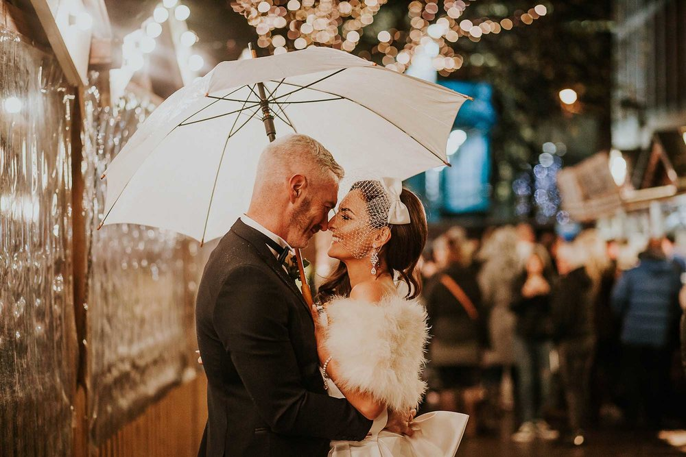 Christmas markets wedding photos