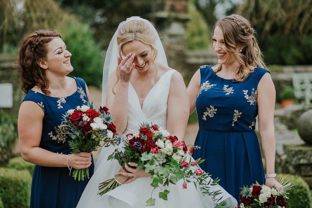 bridesmaids in the gardens at Holdsworth House