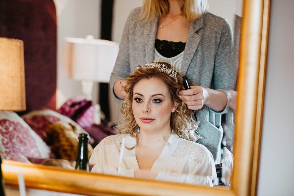 bride getting ready at The Black Swan Helmsley