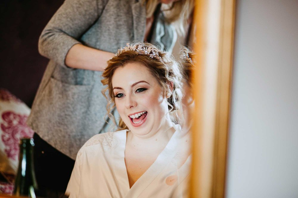 bride laughing at The Black Swan Helmsley