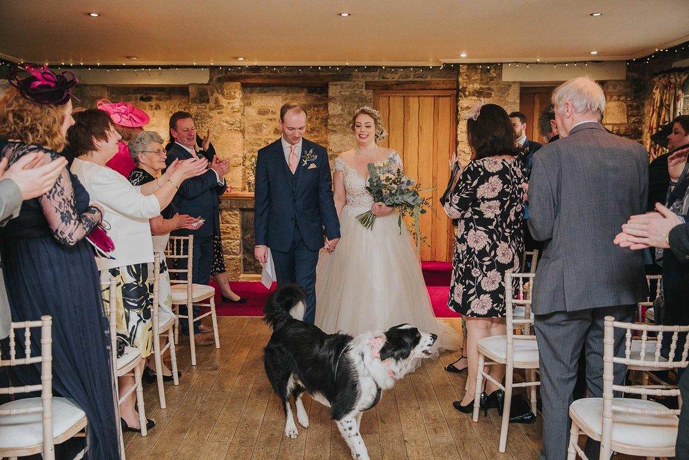 The Black Swan Helmsley bride and groom ceremony