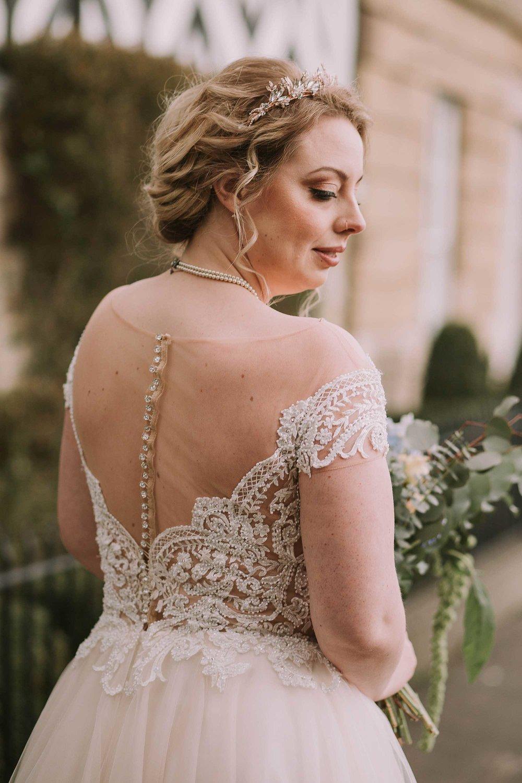 back of bride's dress in Helmsley