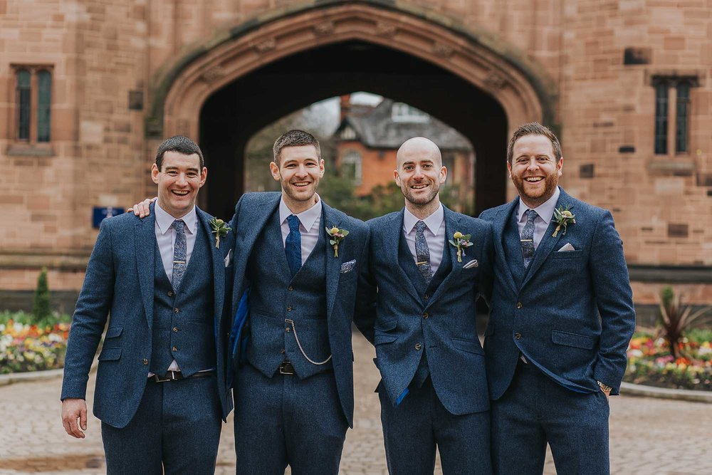 groomsmen outside Bolton School