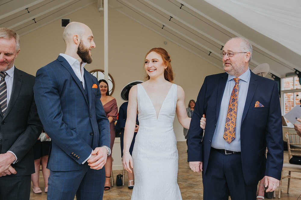 ceremony at the Glasshouse at Combermere Abbey wedding
