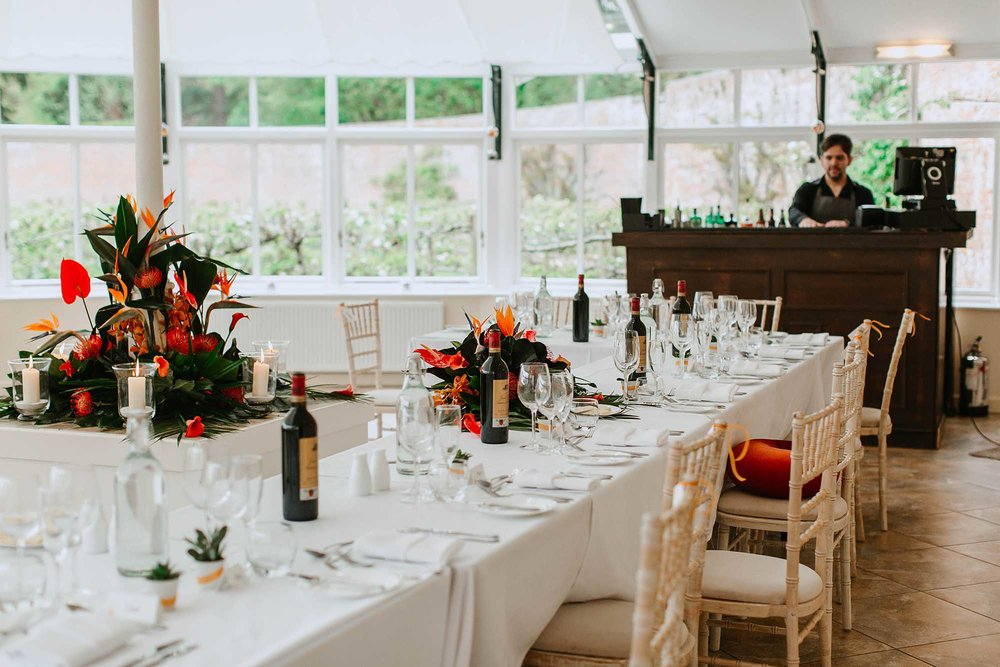 wedding breakfast in the Glasshouse Combermere Abbey