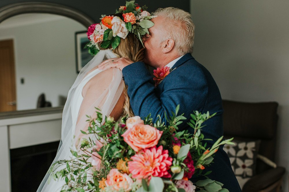 bride kissing her father Leeds wedding