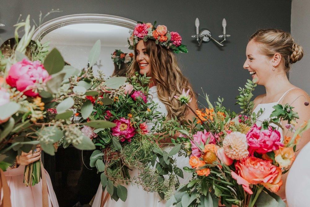 bridesmaids laughing together Left Bank Leeds Wedding