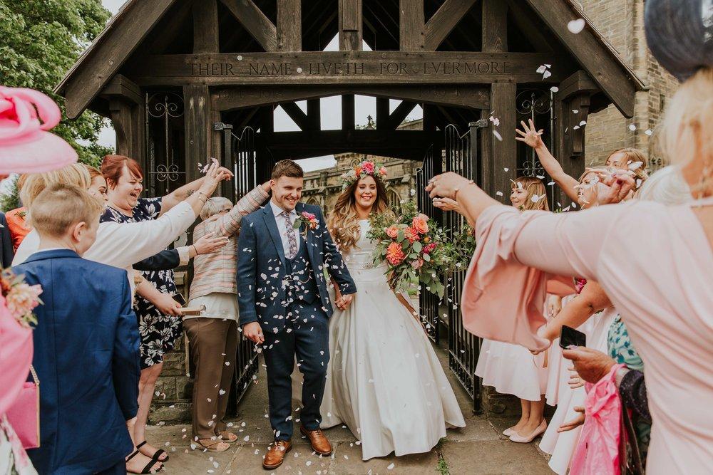Leeds wedding photography confetti