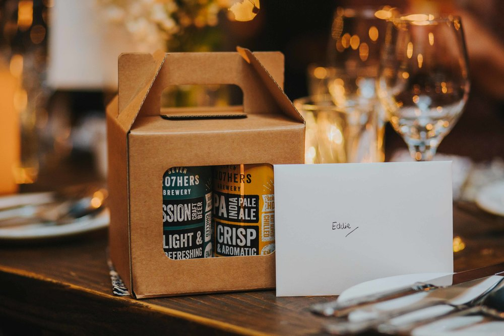 craft beer as wedding favours