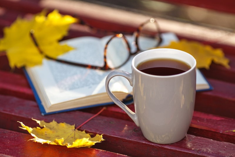 My bliss. Coffee, a good book, and autumn!