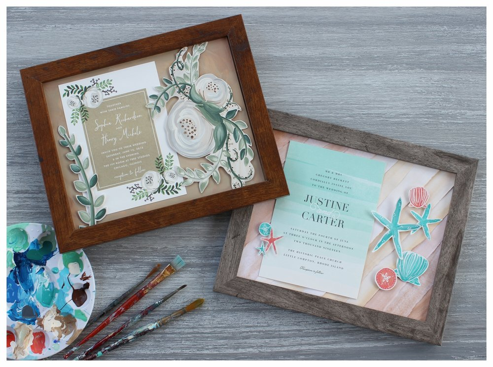 Framed Keepsakes - The ultimate keepsake for the sentimental bride, these hand painted, completely custom pieces of art are perfect for showcasing wedding invitations. Give them a one of a kind gift they can display in their home for years to come.