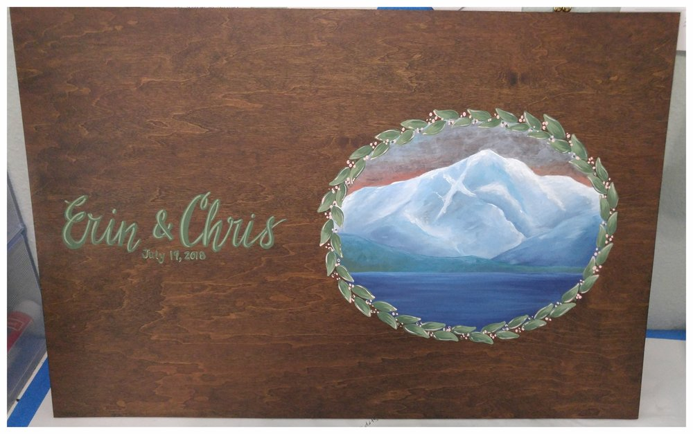 The final product - Chris and Erin's custom mountain guest book painting!