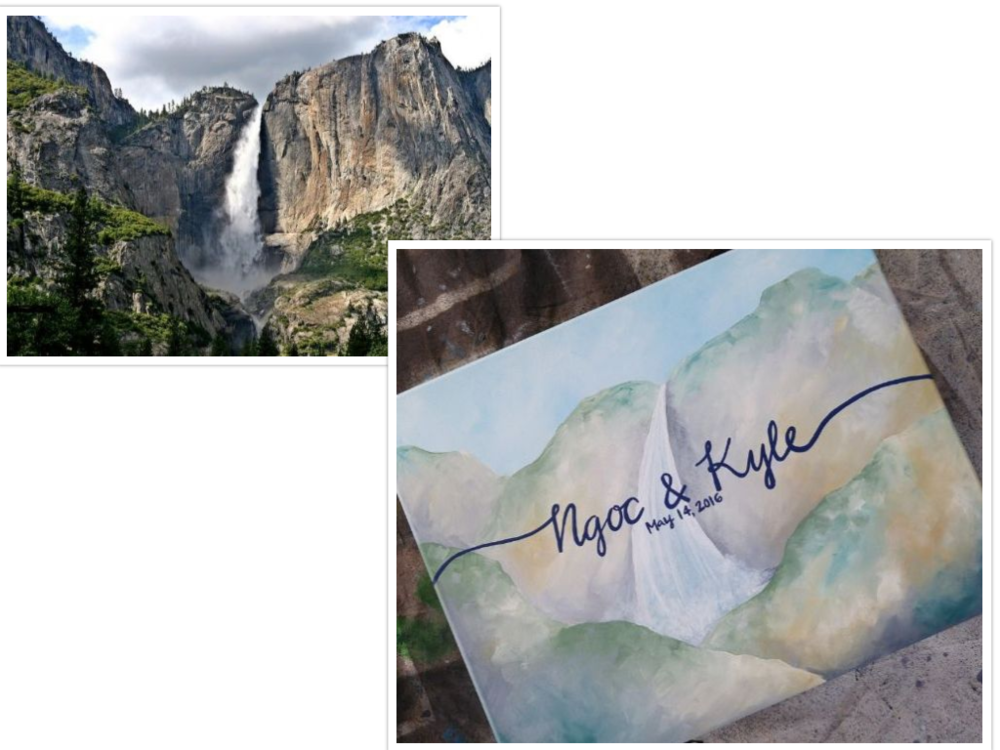 Green and brown interpretation of Yosemite Falls, ready to be signed by all their guests!