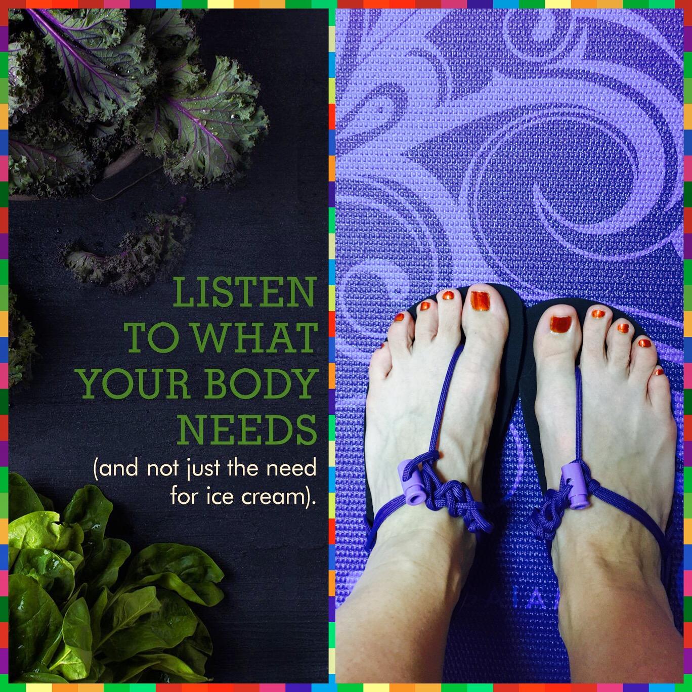 Nutrition, Yoga, and go everywhere sandals!