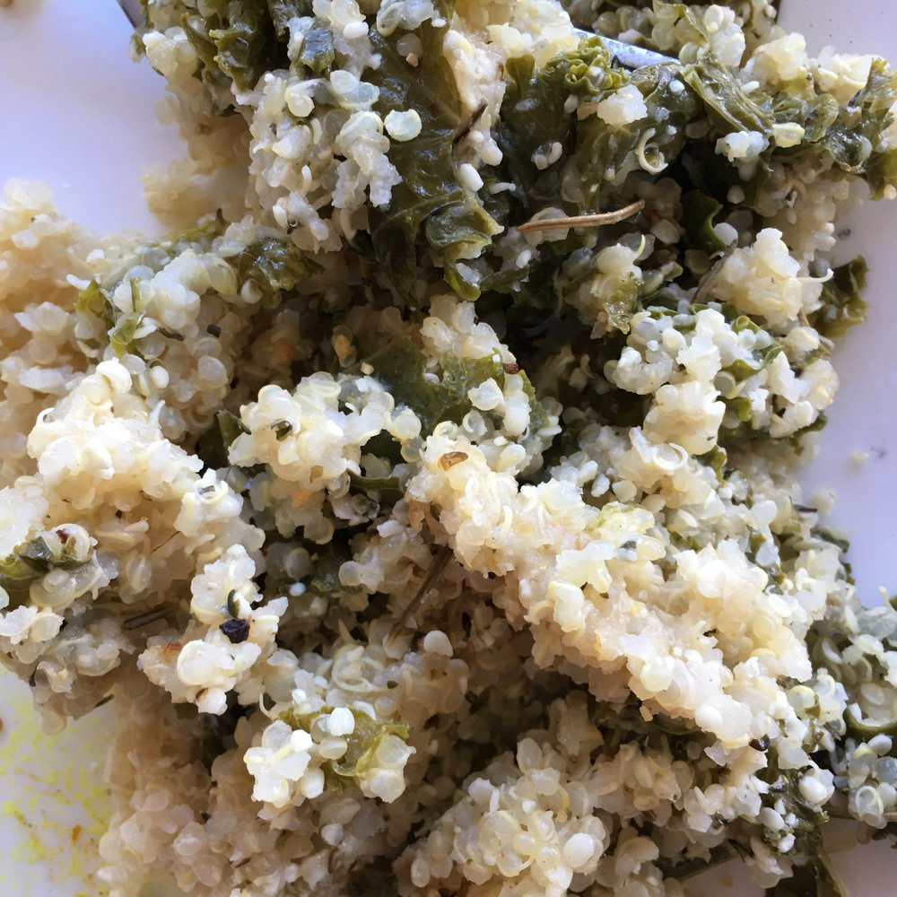 Rosemary Garlic Quinoa, with Kale